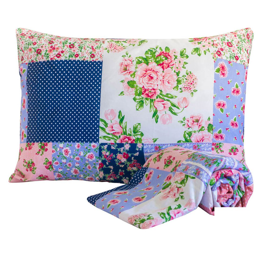 Jogo de Cama Standard Patchwork Floral Solteiro 160 Fios 02 Peças