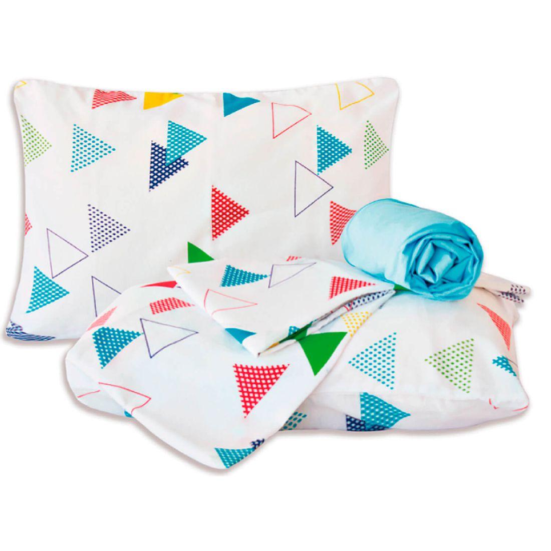 Jogo de Cama Standard Triângulos Branco/Azul Casal Padrão 160 Fios 04 Peças