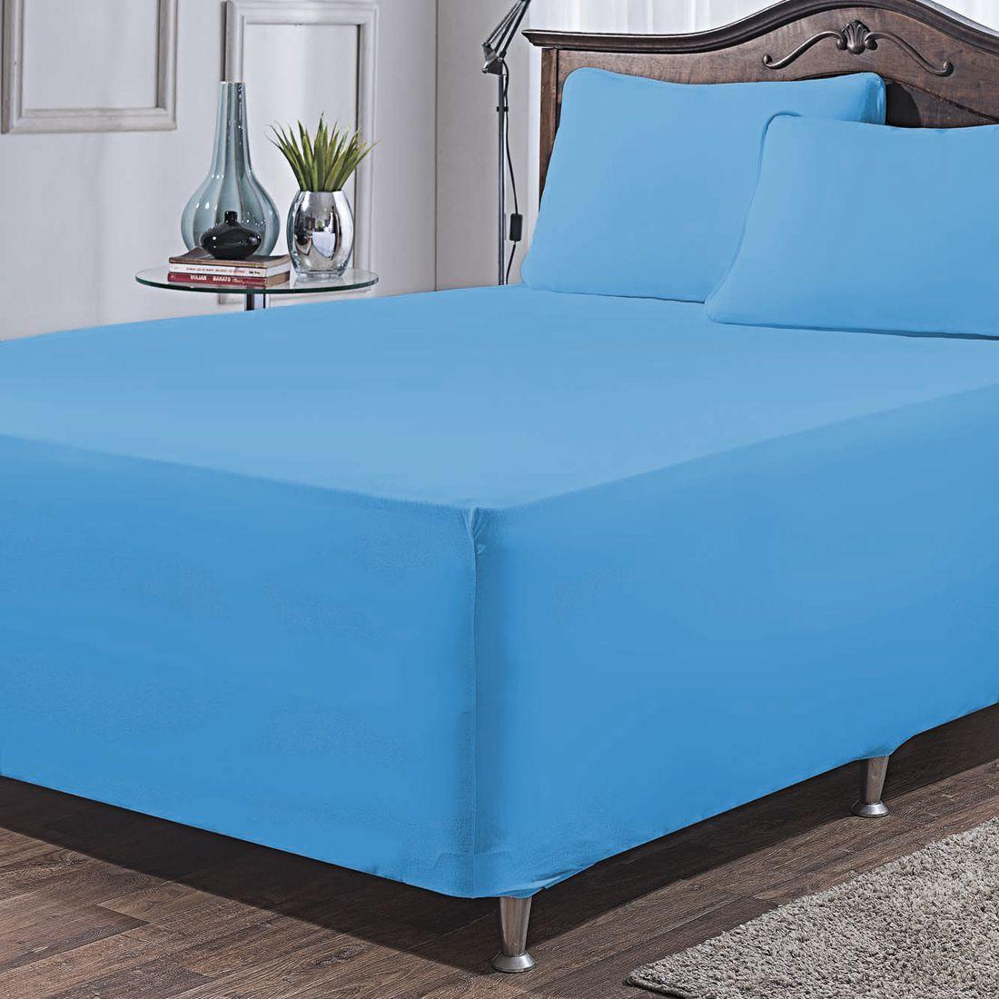Jogo de Lençol p/ Cama Box Complet Azul King 03 Peças - Malha 100% Algodão