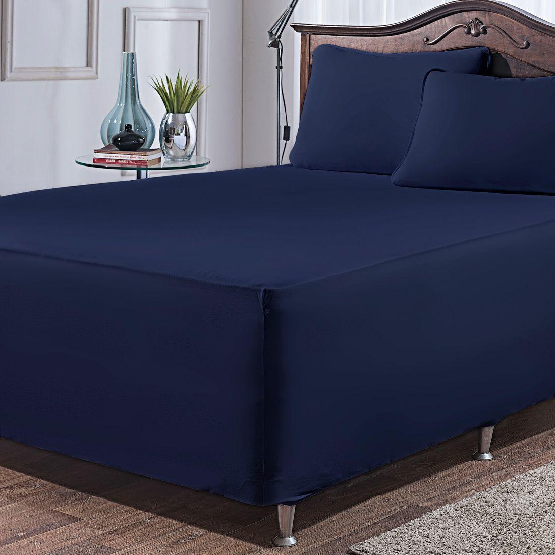 Jogo de Lençol p/ Cama Box Complet Azul Marinho Casal 03 Peças - Malha 100% Algodão