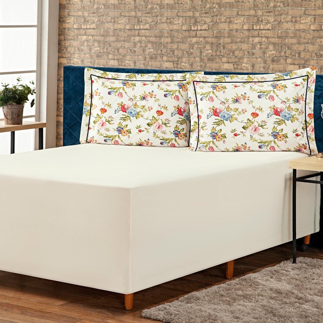 Jogo de Lençol p/ Cama Box Complet Floral Palha/Azul Queen 03 Peças - Percal 140 Fios