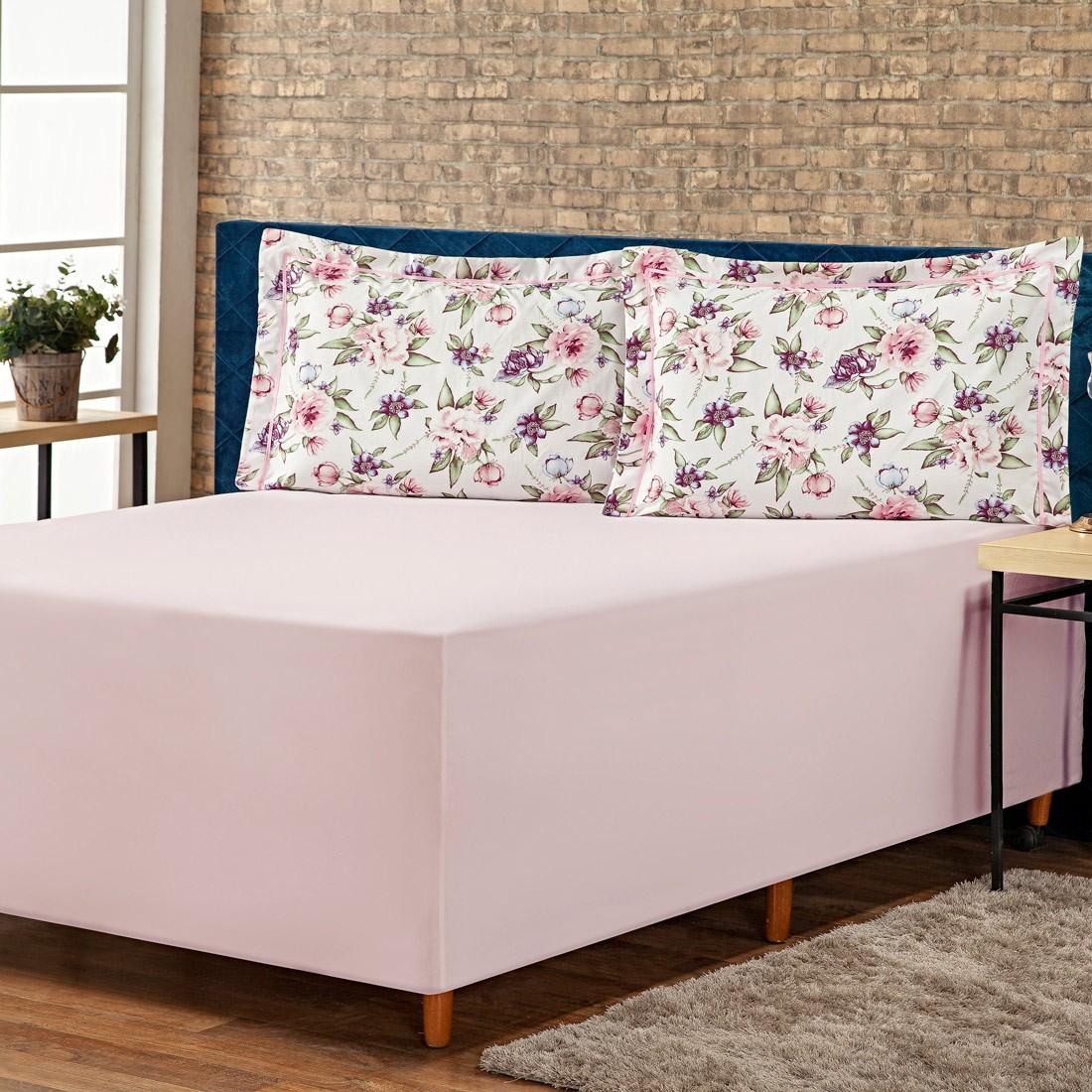 Jogo de Lençol p/ Cama Box Complet Floral Rosa Casal 03 Peças - Percal 140 Fios
