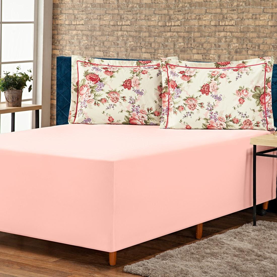 Jogo de Lençol p/ Cama Box Complet Floral Rosê Casal 03 Peças - Percal 140 Fios