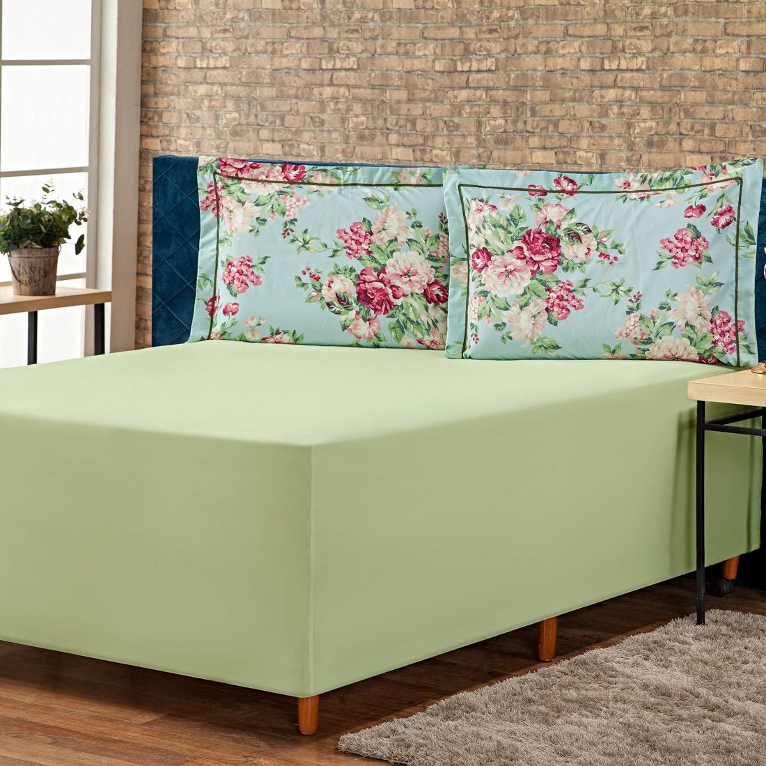 Jogo de Lençol p/ Cama Box Complet Floral Verde/Pink King 03 Peças - Percal 140 Fios