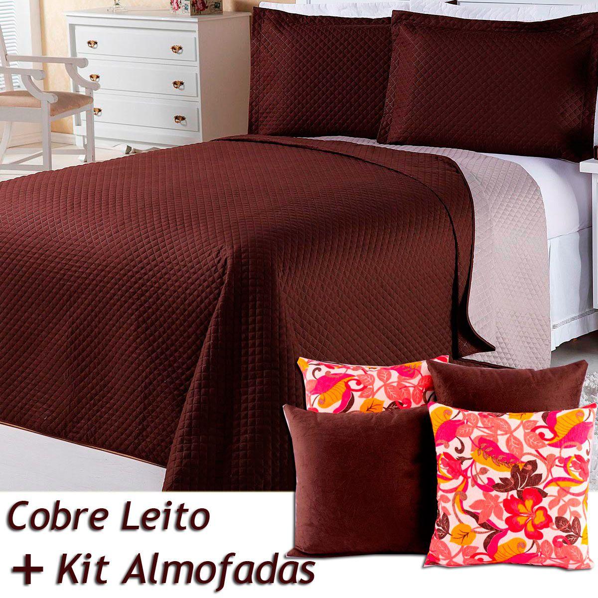 a2deef2420 Kit Cobre Leito c  4 Almofadas Cheias Dual Color Marrom Bege Dupla Face  Queen