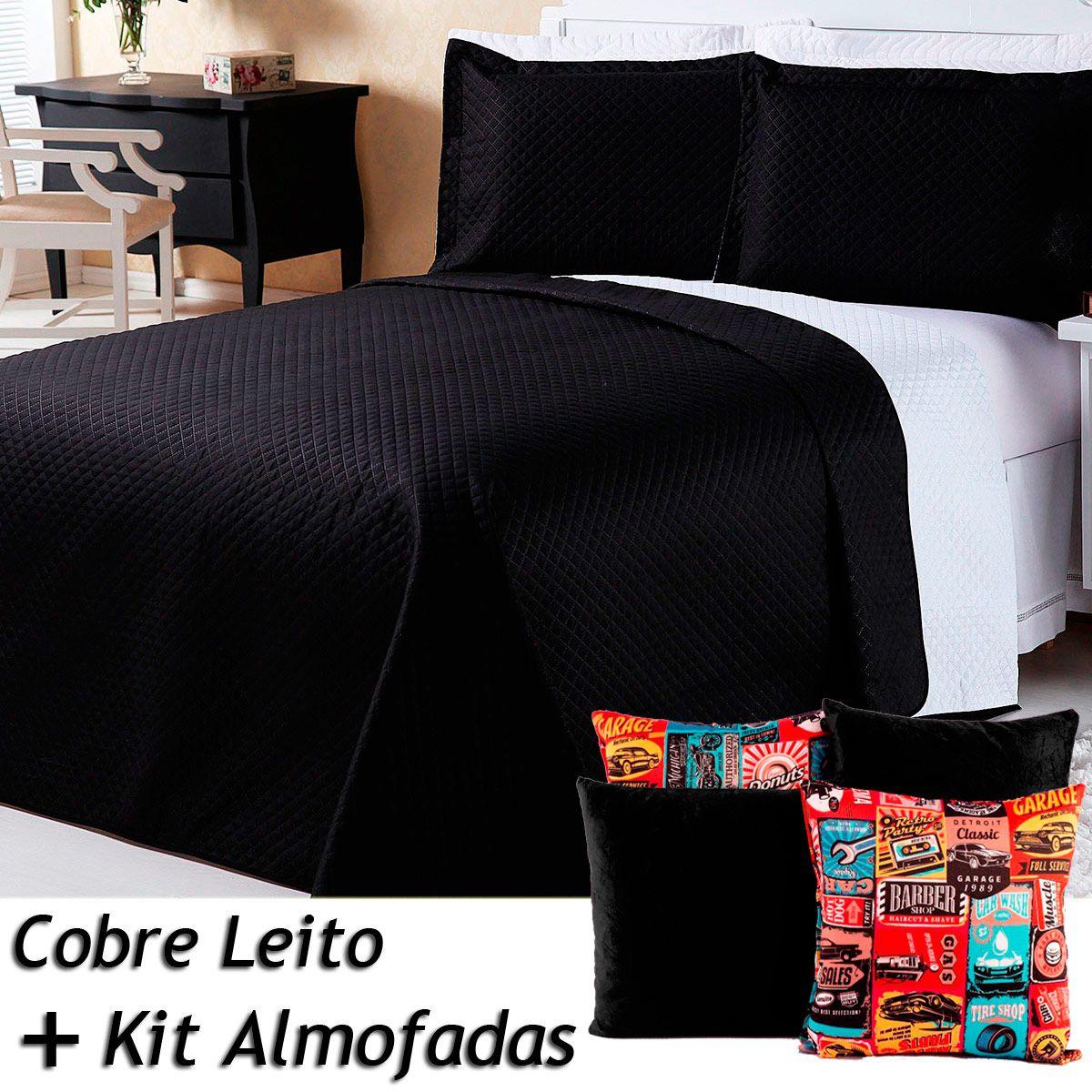 Kit Cobre Leito c/ 4 Almofadas Cheias Dual Color Preto/Branco Dupla Face Casal Padrão 07 Peças