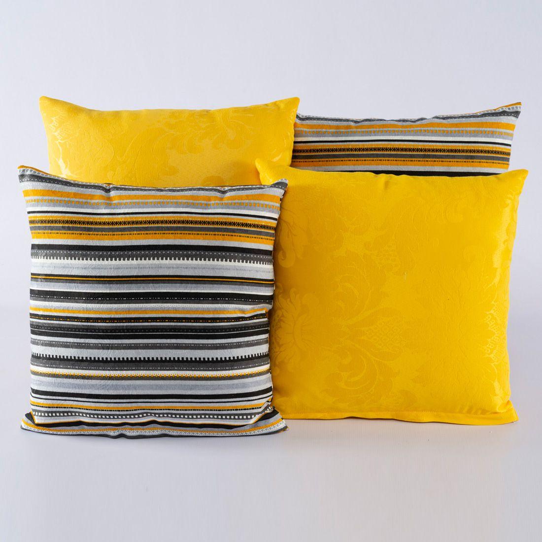 Kit c/ 4 Almofadas Cheias Decorativas Amarelo Listrado