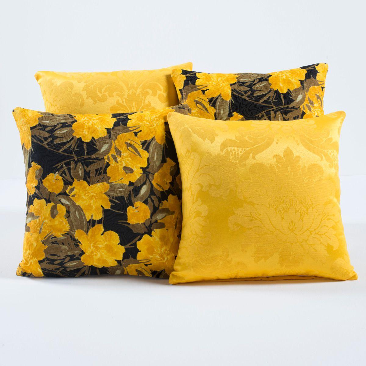 Kit c/ 4 Almofadas Cheias Decorativas Floral Amarelo/Preto 04 Peças c/ Refil