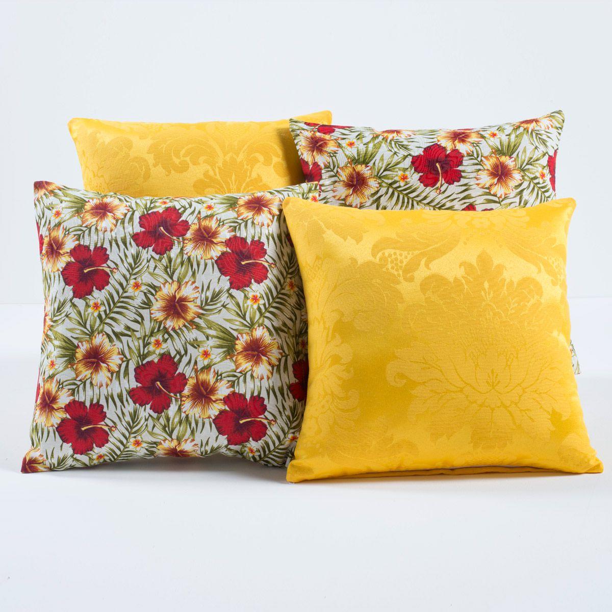 Kit c/ 4 Almofadas Cheias Decorativas Floral Amarelo/Vermelho 04 Peças c/ Refil