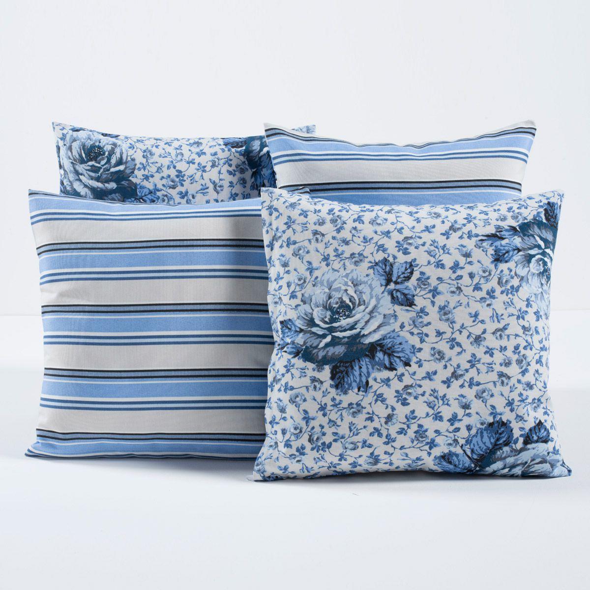 Kit c/ 4 Almofadas Cheias Decorativas Floral Azul Bebê Listrado 04 Peças c/ Refil