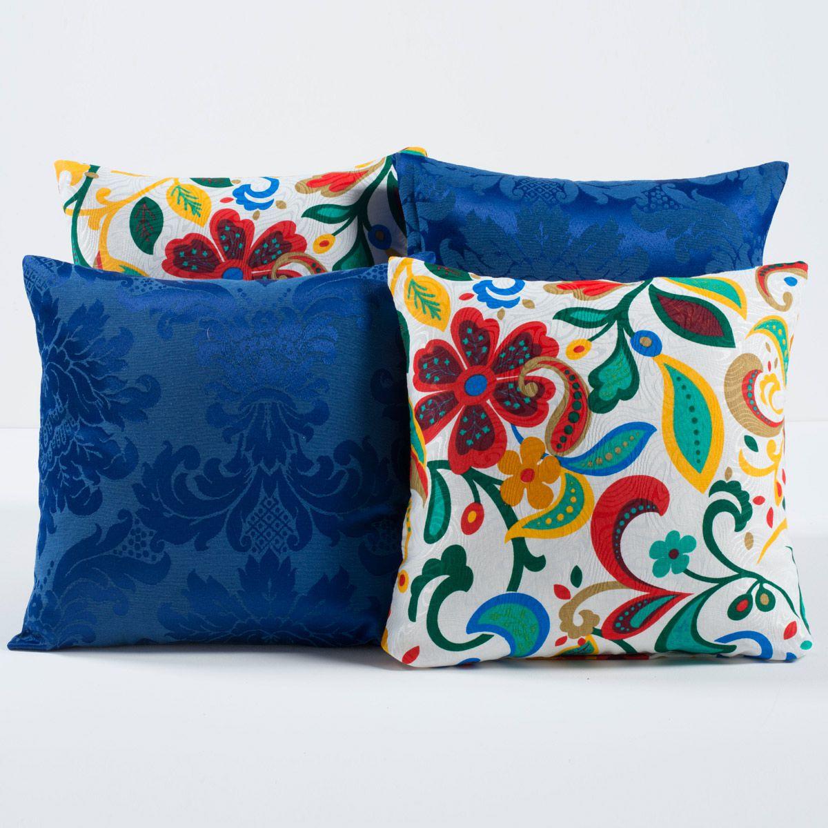 Kit c/ 4 Almofadas Cheias Decorativas Floral Azul/Branco 04 Peças c/ Refil