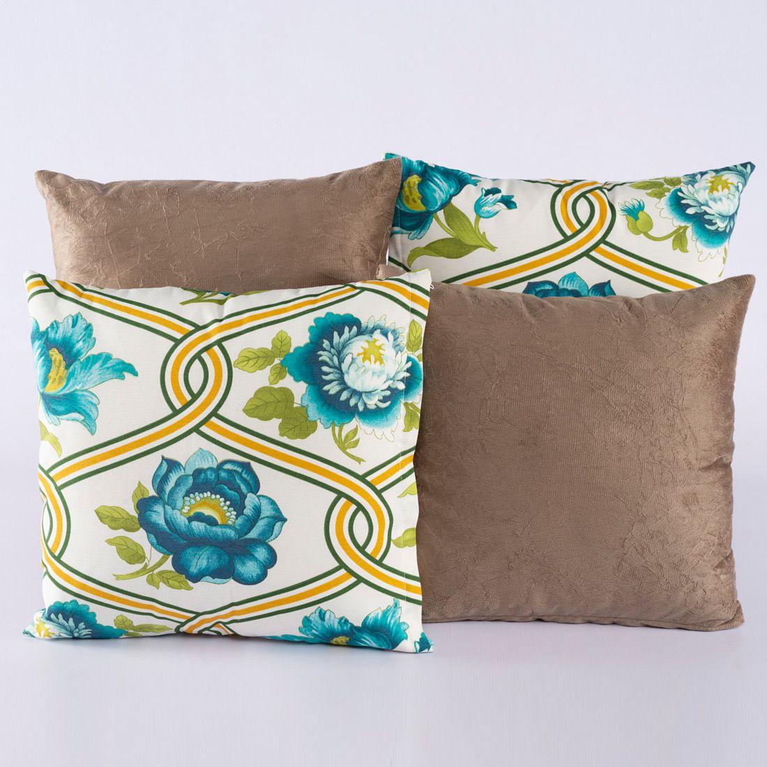 Kit c/ 4 Almofadas Cheias Decorativas Floral Azul/Caqui