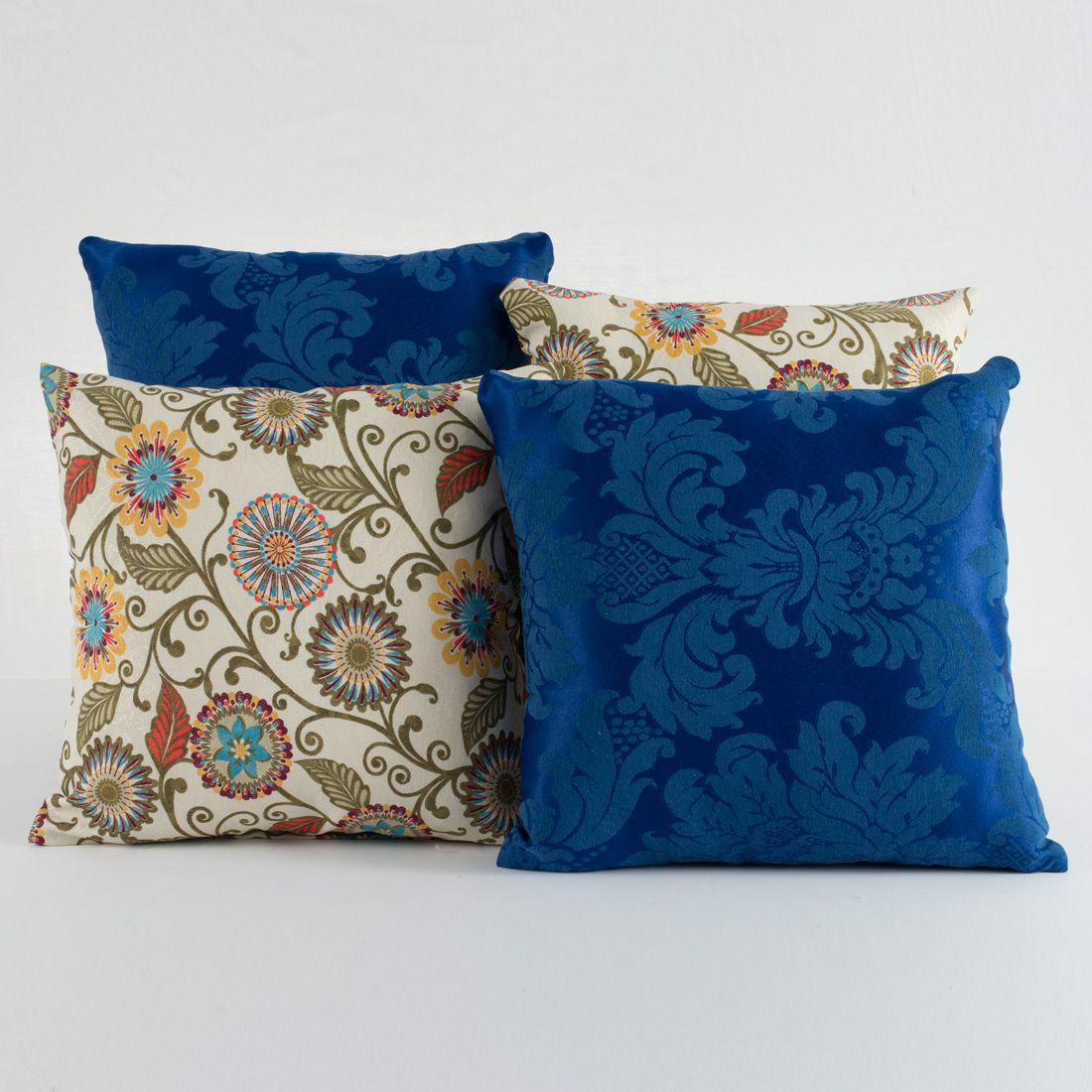 Kit c/ 4 Almofadas Cheias Decorativas Floral Azul Royal 04 Peças c/ Refil