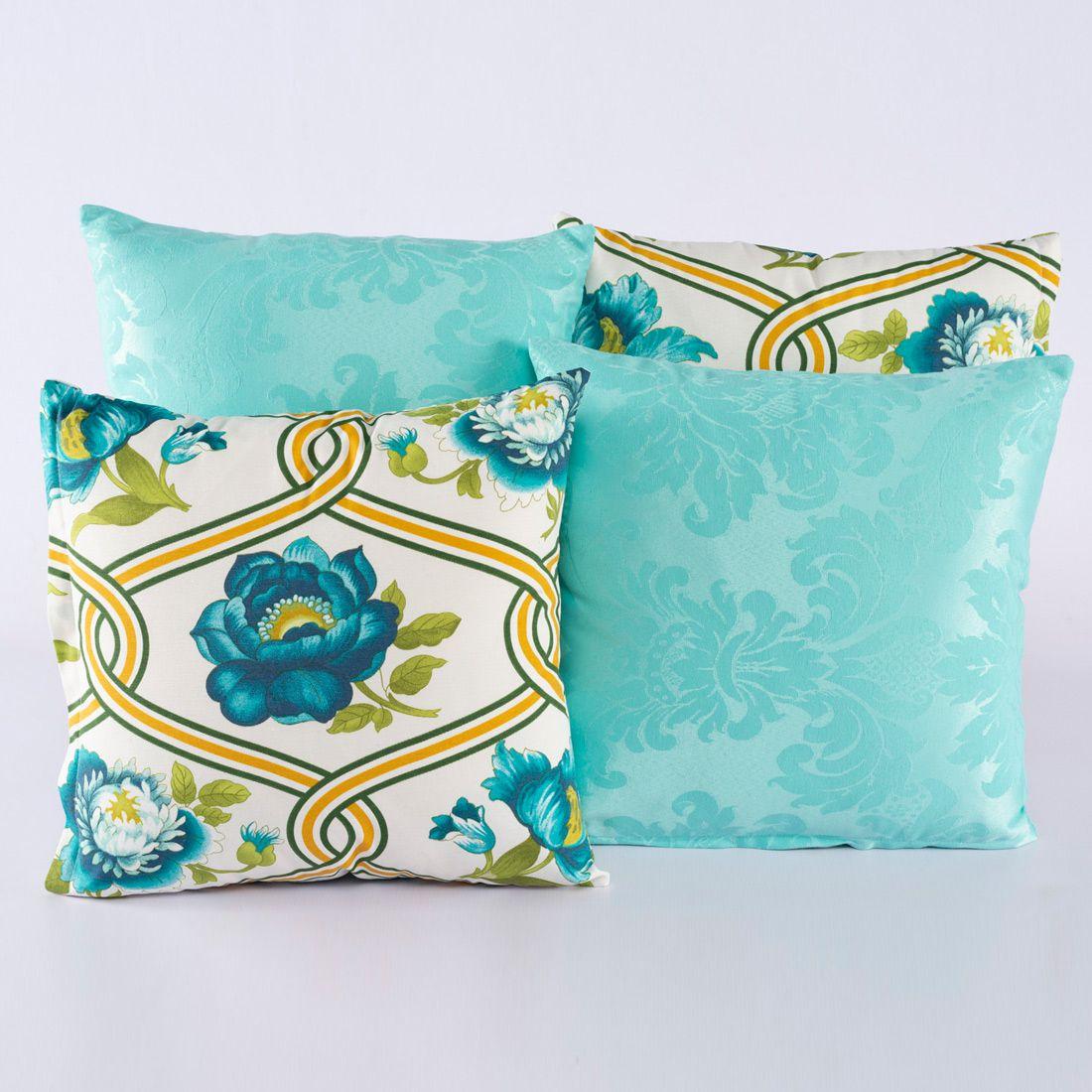 Kit c/ 4 Almofadas Cheias Decorativas Floral Azul/Turquesa 04 Peças c/ Refil