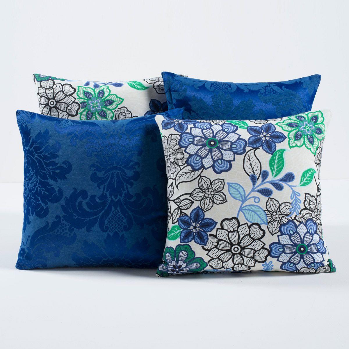 Kit c/ 4 Almofadas Cheias Decorativas Floral Azul/Verde 04 Peças c/ Refil
