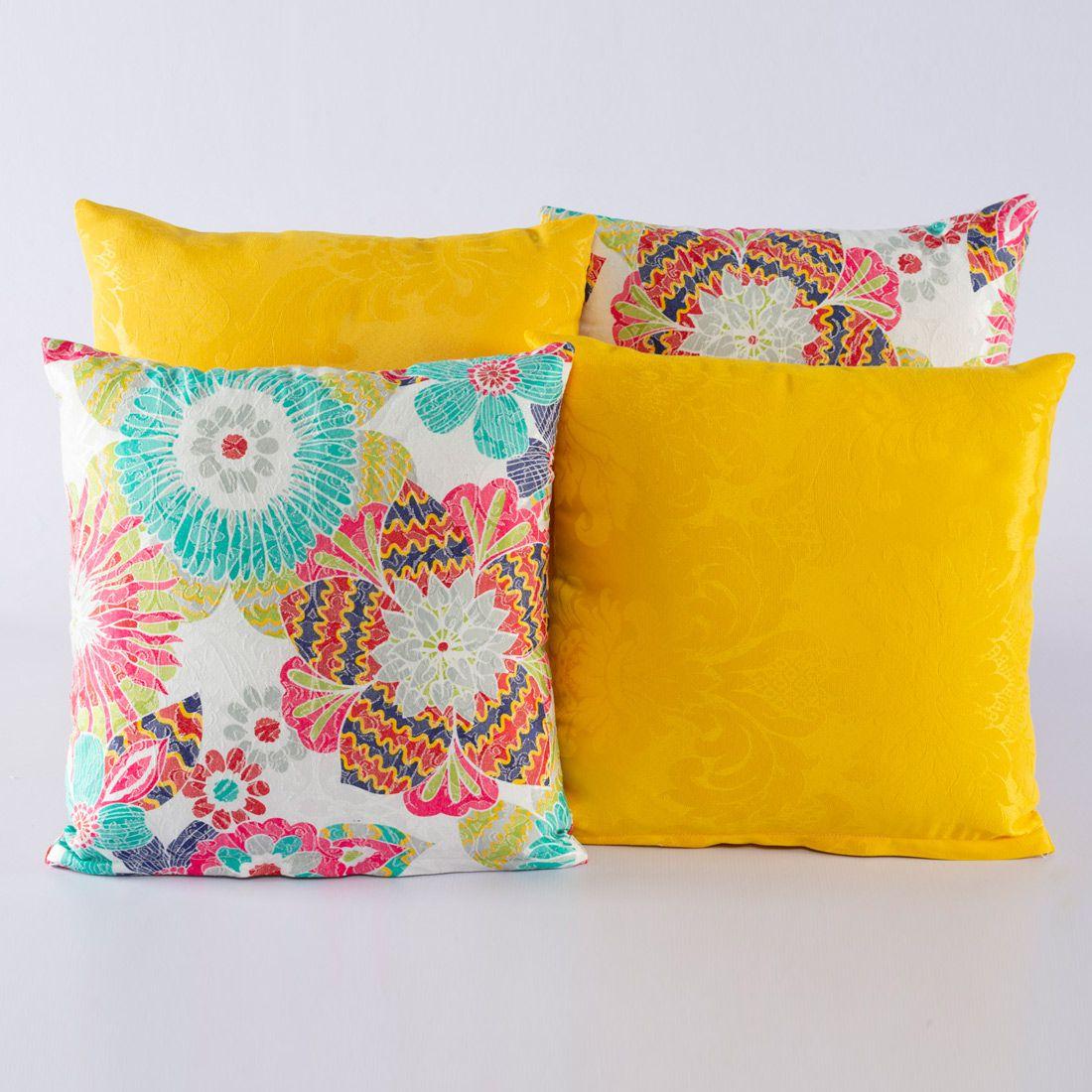 Kit c/ 4 Almofadas Cheias Decorativas Floral Colorido/Amarelo