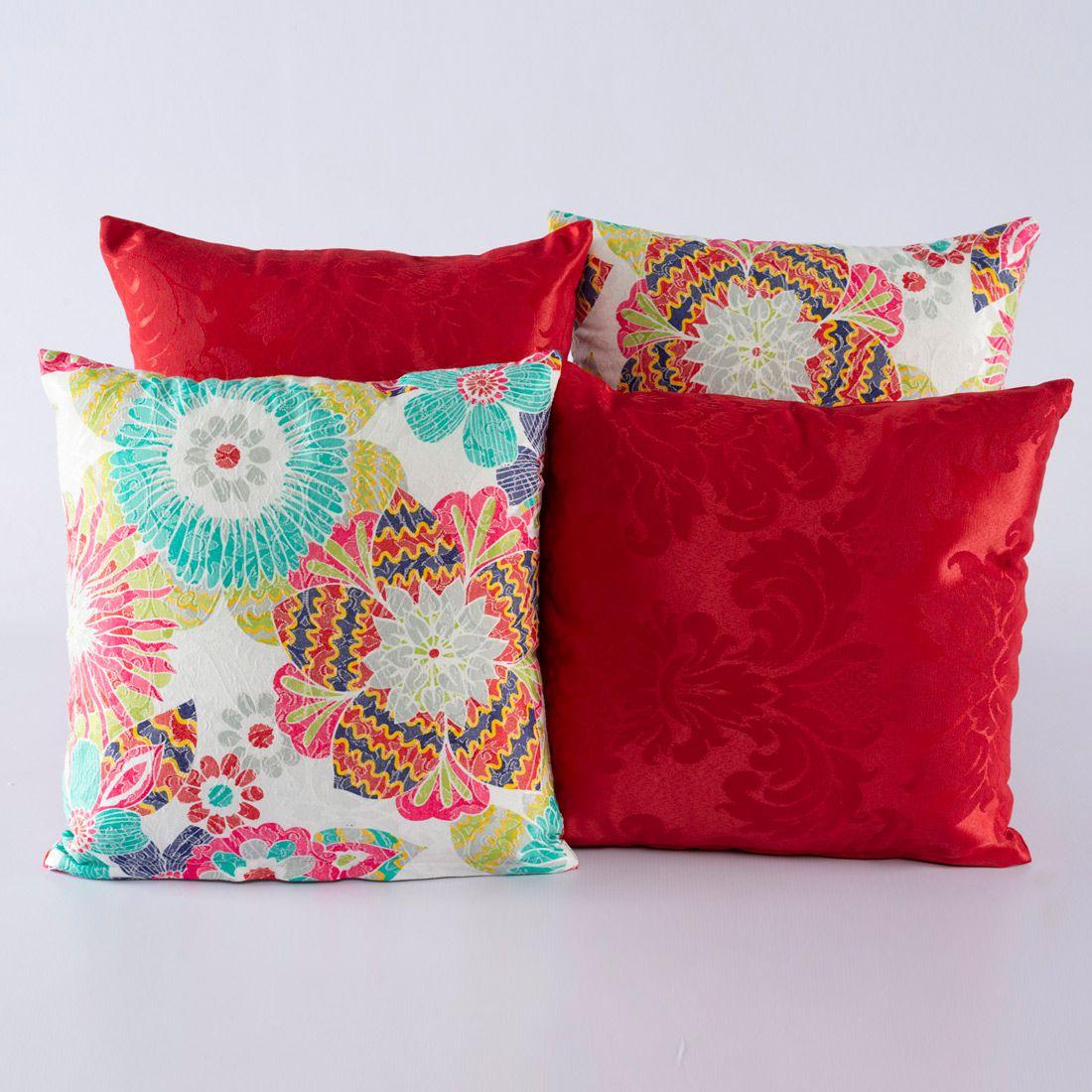 Kit c/ 4 Almofadas Cheias Decorativas Floral Colorido/Vermelho