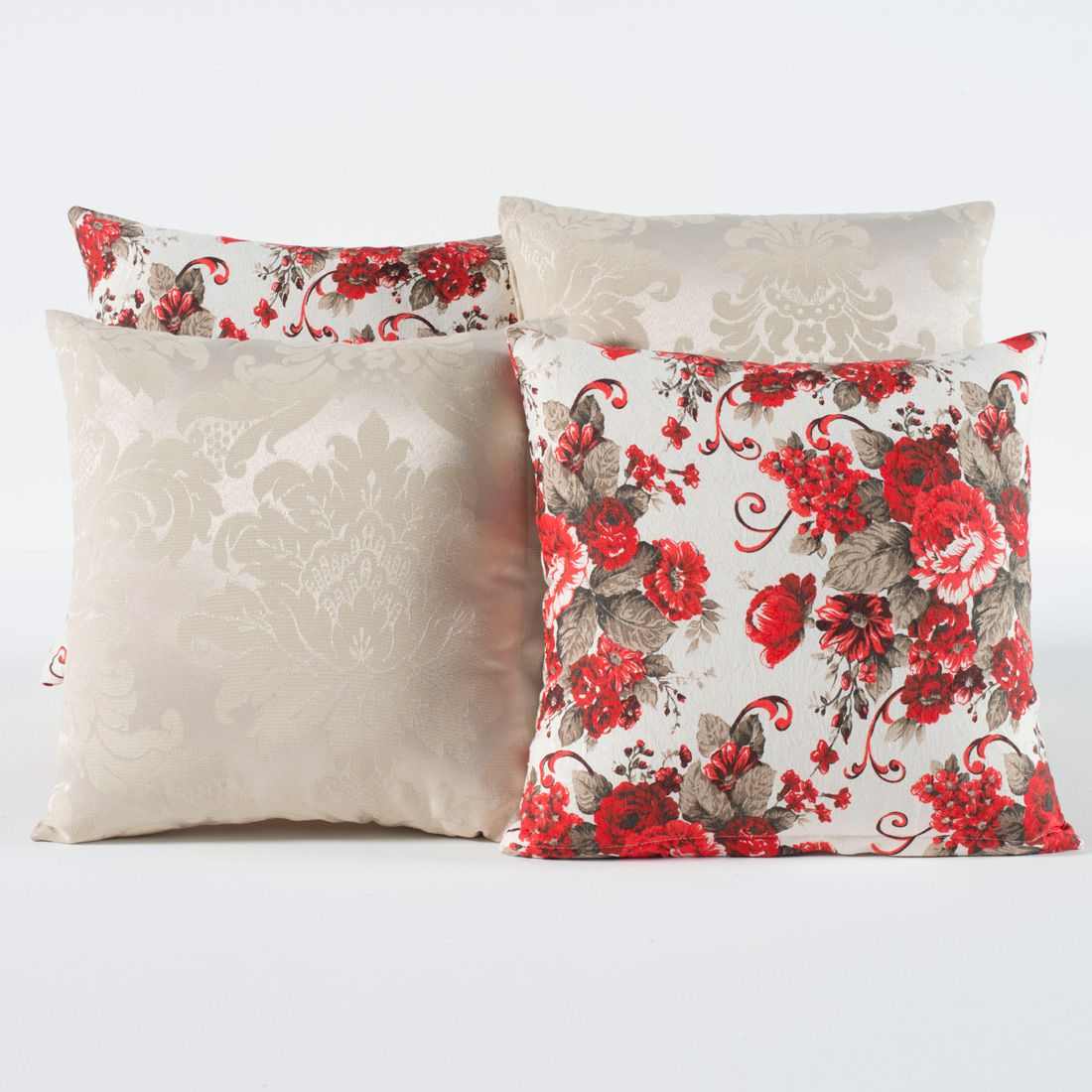 Kit c/ 4 Almofadas Cheias Decorativas Floral Palha/Vermelho 04 Peças c/ Refil