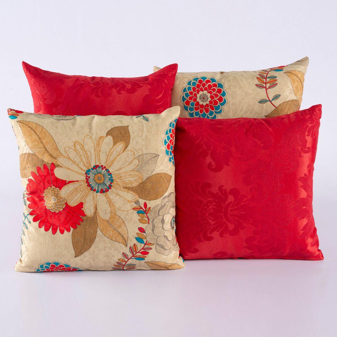 Kit c/ 4 Almofadas Cheias Decorativas Floral Vermelho/Bege