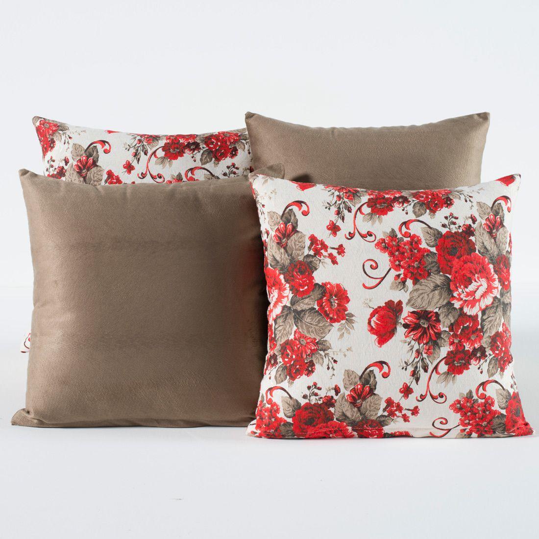 Kit c/ 4 Almofadas Cheias Decorativas Floral Vermelho e Caqui 04 Peças c/ Refil