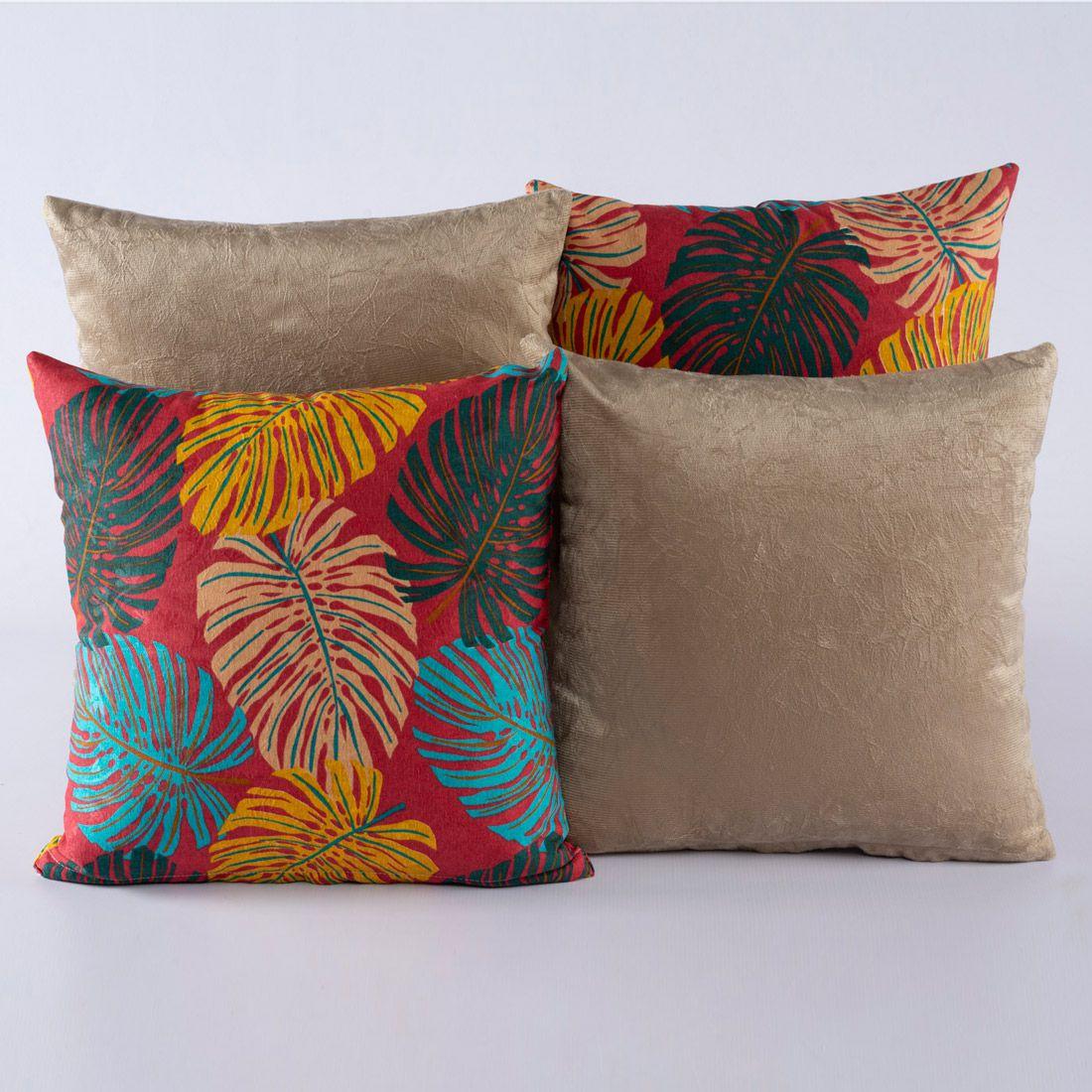 Kit c/ 4 Almofadas Cheias Decorativas Folhas Vermelho/Caqui