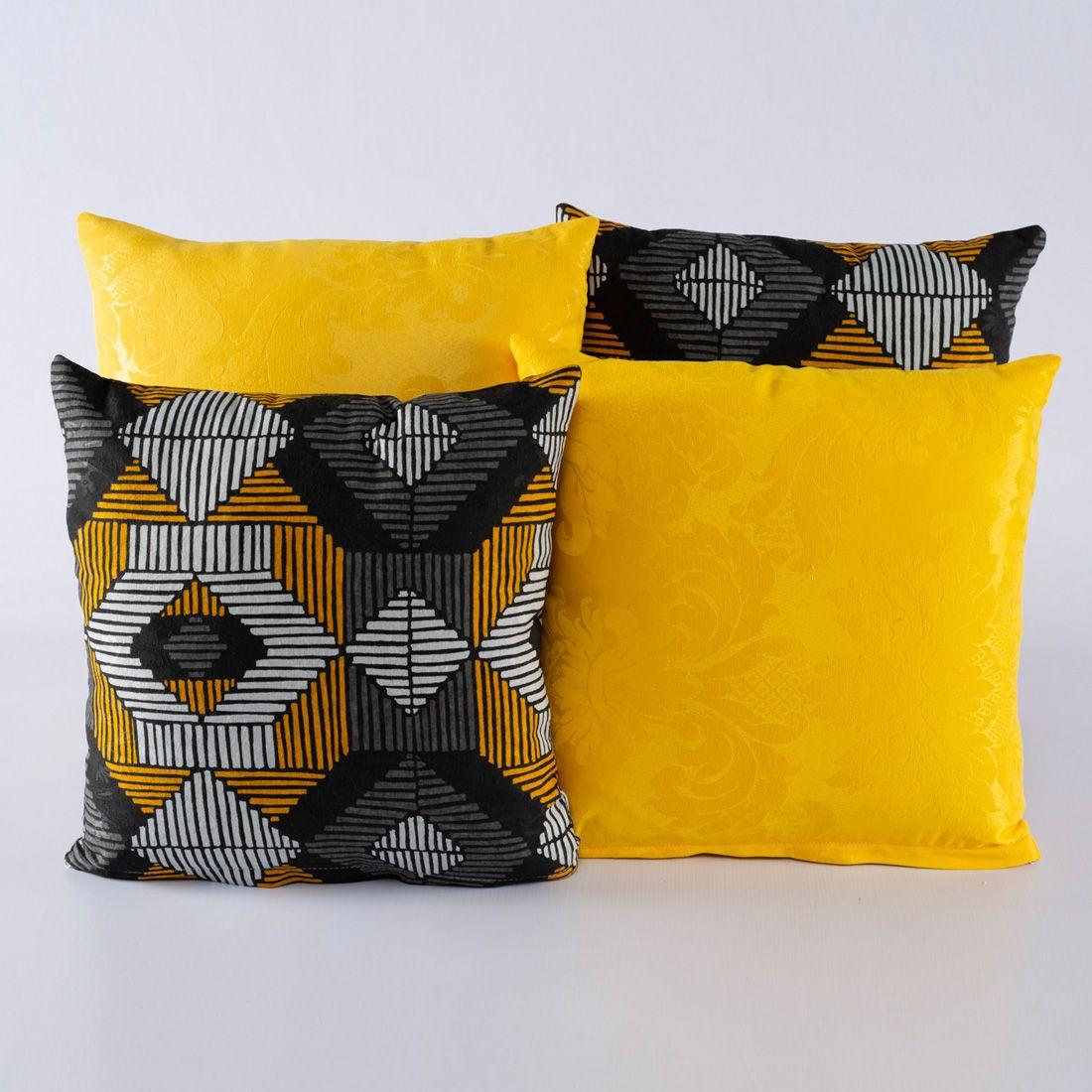 Kit c/ 4 Almofadas Cheias Decorativas Geo Amarelo/Cinza