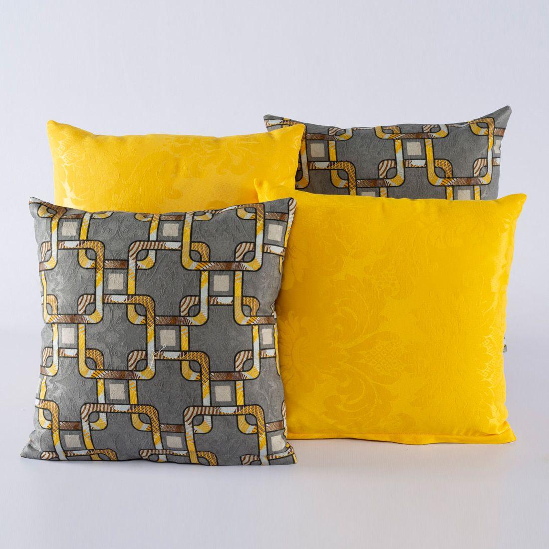 Kit c/ 4 Almofadas Cheias Decorativas Geo Cinza/Amarelo