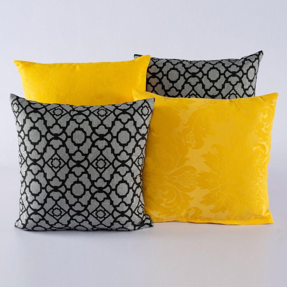 Kit c/ 4 Almofadas Cheias Decorativas Geométrico Cinza/Amarelo