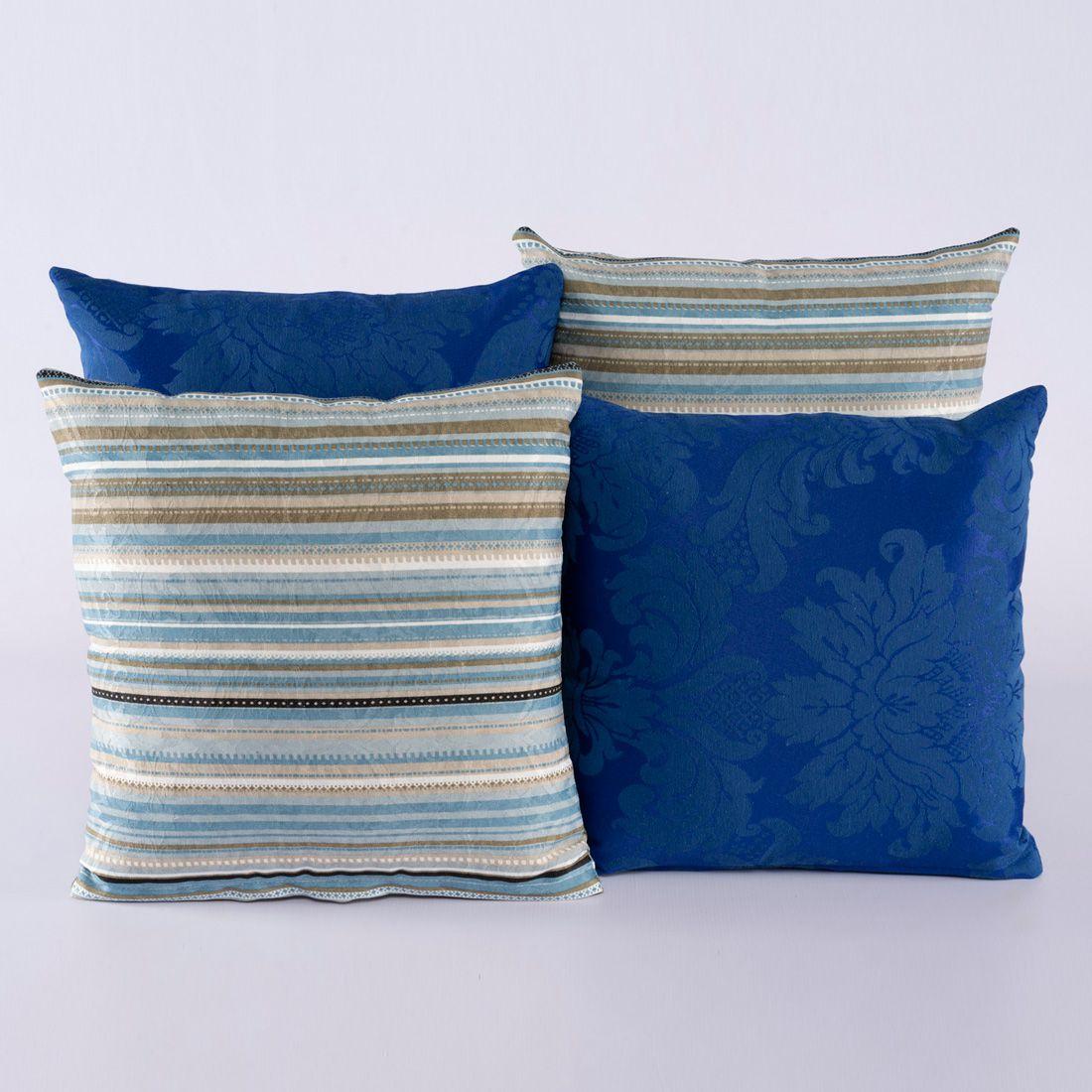 Kit c/ 4 Almofadas Cheias Decorativas Listrado Azul