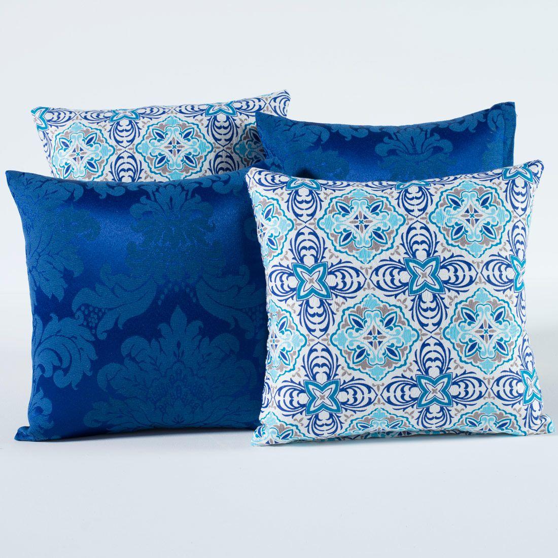 Kit c/ 4 Almofadas Cheias Decorativas Mandala Azul Royal 04 Peças c/ Refil