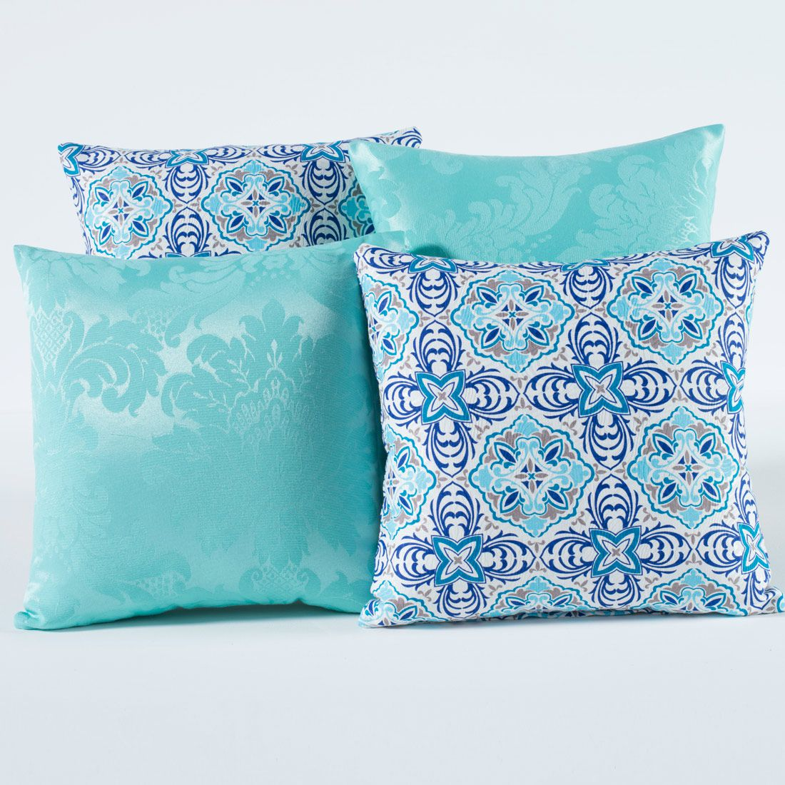 Kit c/ 4 Almofadas Cheias Decorativas Mandala Azul Turquesa 04 Peças c/ Refil
