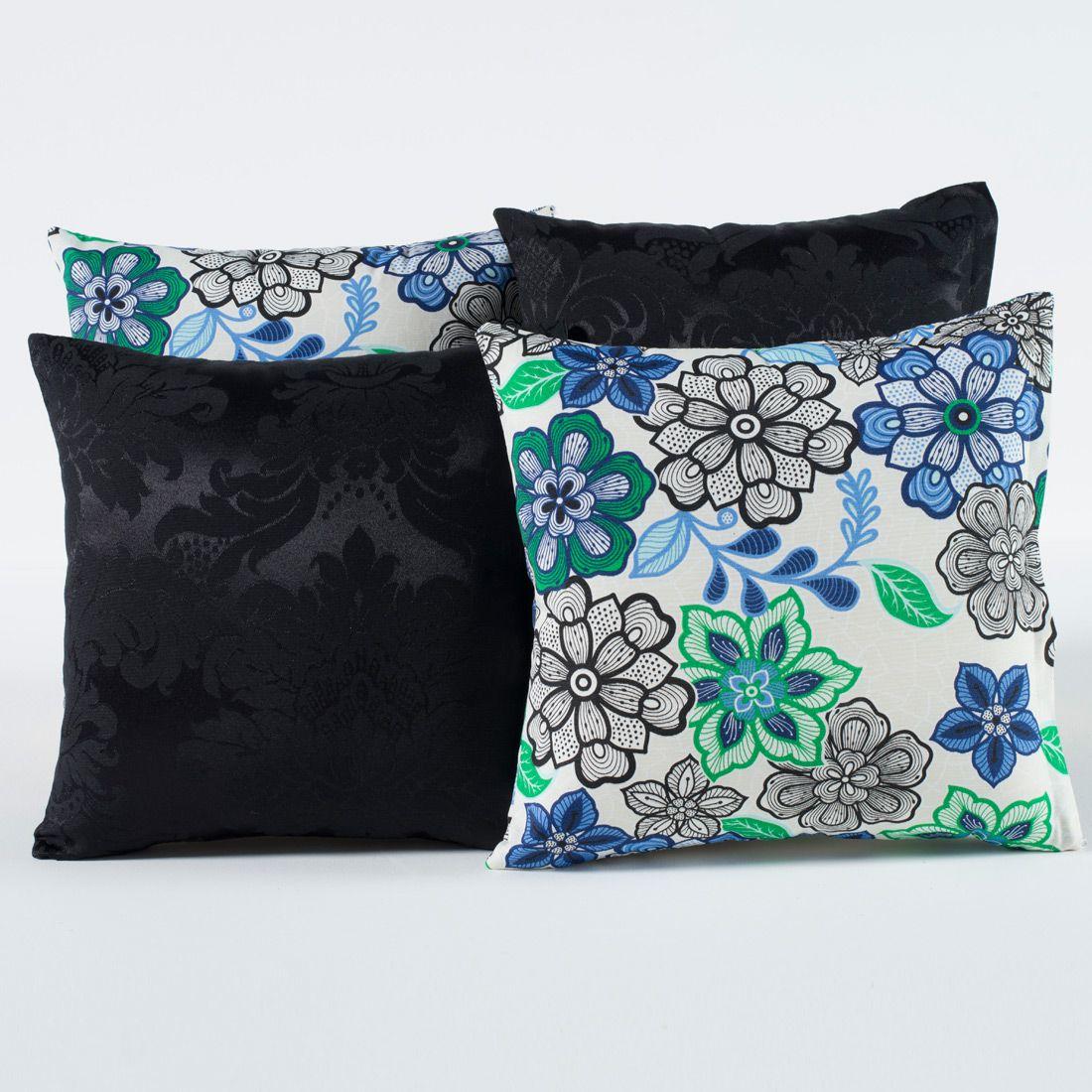 Kit c/ 4 Almofadas Cheias Decorativas Preto/Azul Floral 04 Peças c/ Refil