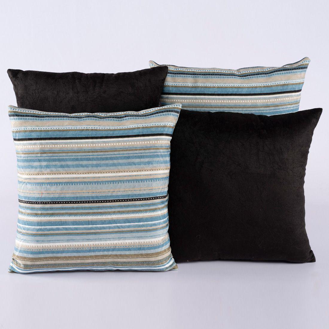 Kit c/ 4 Almofadas Cheias Decorativas Preto/Azul Listrado