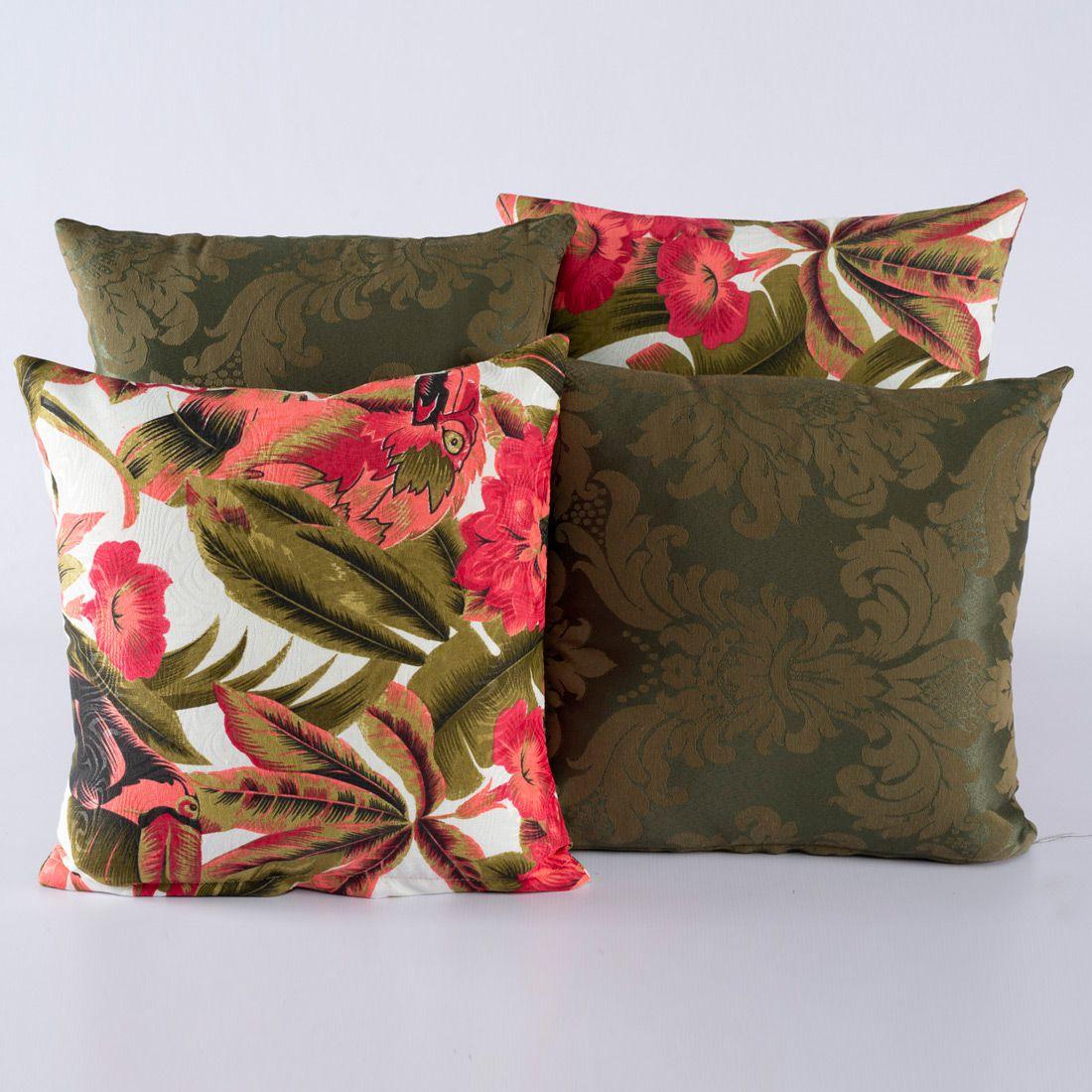 Kit c/ 4 Almofadas Cheias Decorativas Tucano Rosê/Verde
