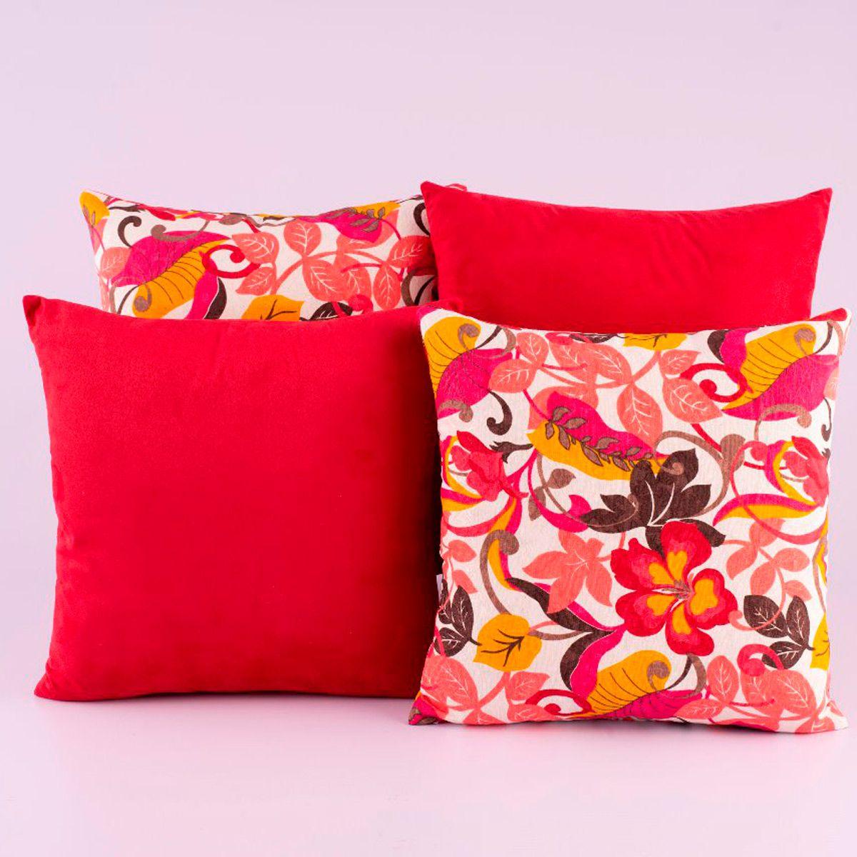 Kit c/ 4 Almofadas Cheias Decorativas Vermelho Floral Colorido 04 Peças c/ Refil