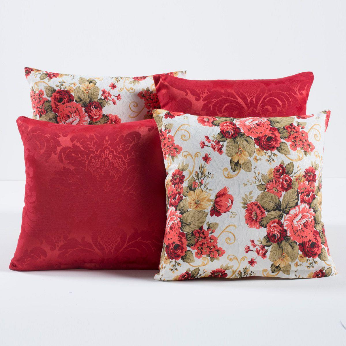 Kit c/ 4 Almofadas Cheias Decorativas Vermelho Florido 04 Peças c/ Refil