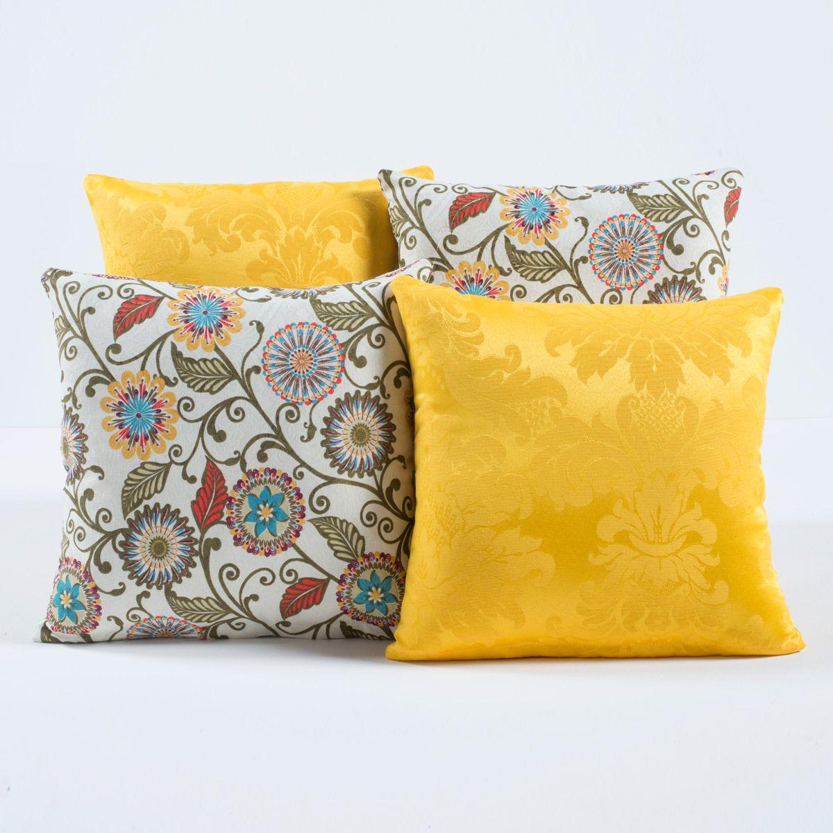 Kit Capas de Almofadas Decorativas Amarelo Florido 04 Peças