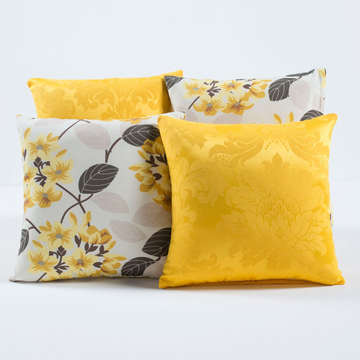 Kit Capas de Almofadas Decorativas Floral Amarelo/Branco 04 Peças