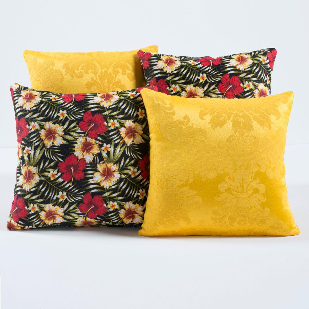 Kit Capas de Almofadas Decorativas Floral Amarelo/Preto 04 Peças