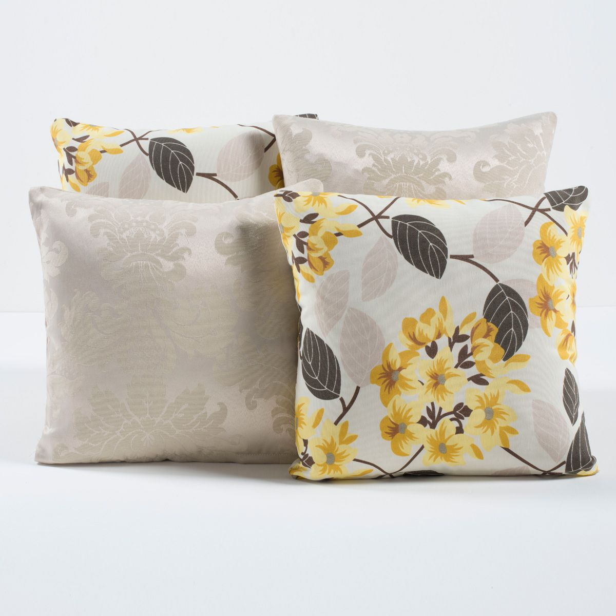 Kit Capas de Almofadas Decorativas Floral Bege/Amarelo 04 Peças
