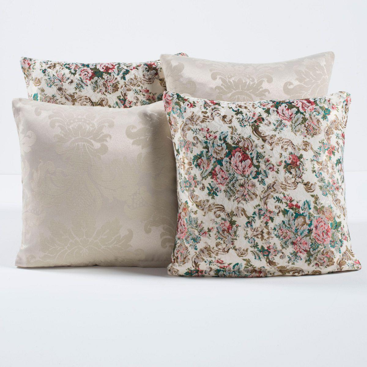 Kit Capas de Almofadas Decorativas Floral Palha/Bege 04 Peças