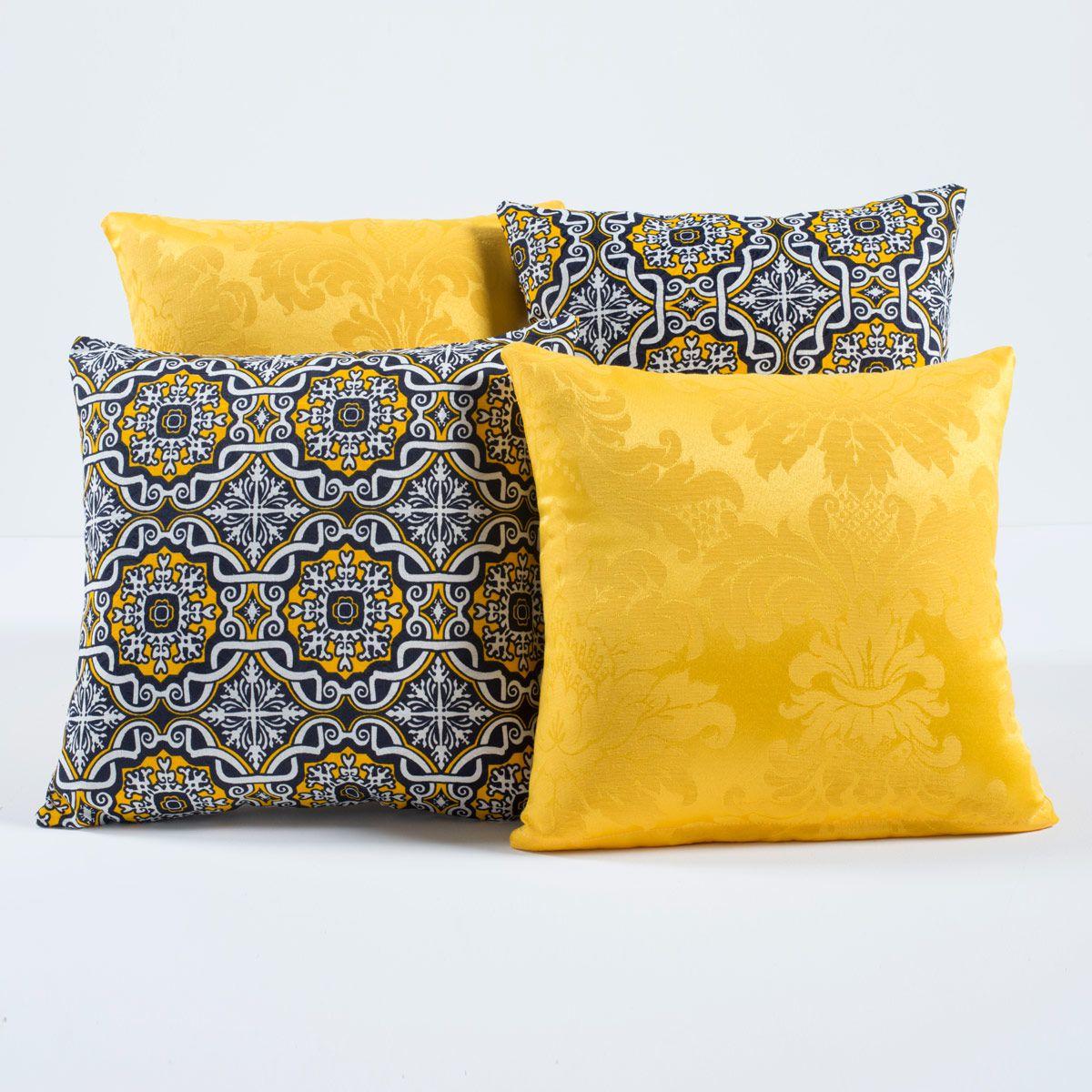Kit Capas de Almofadas Decorativas Mandala Amarelo 04 Peças