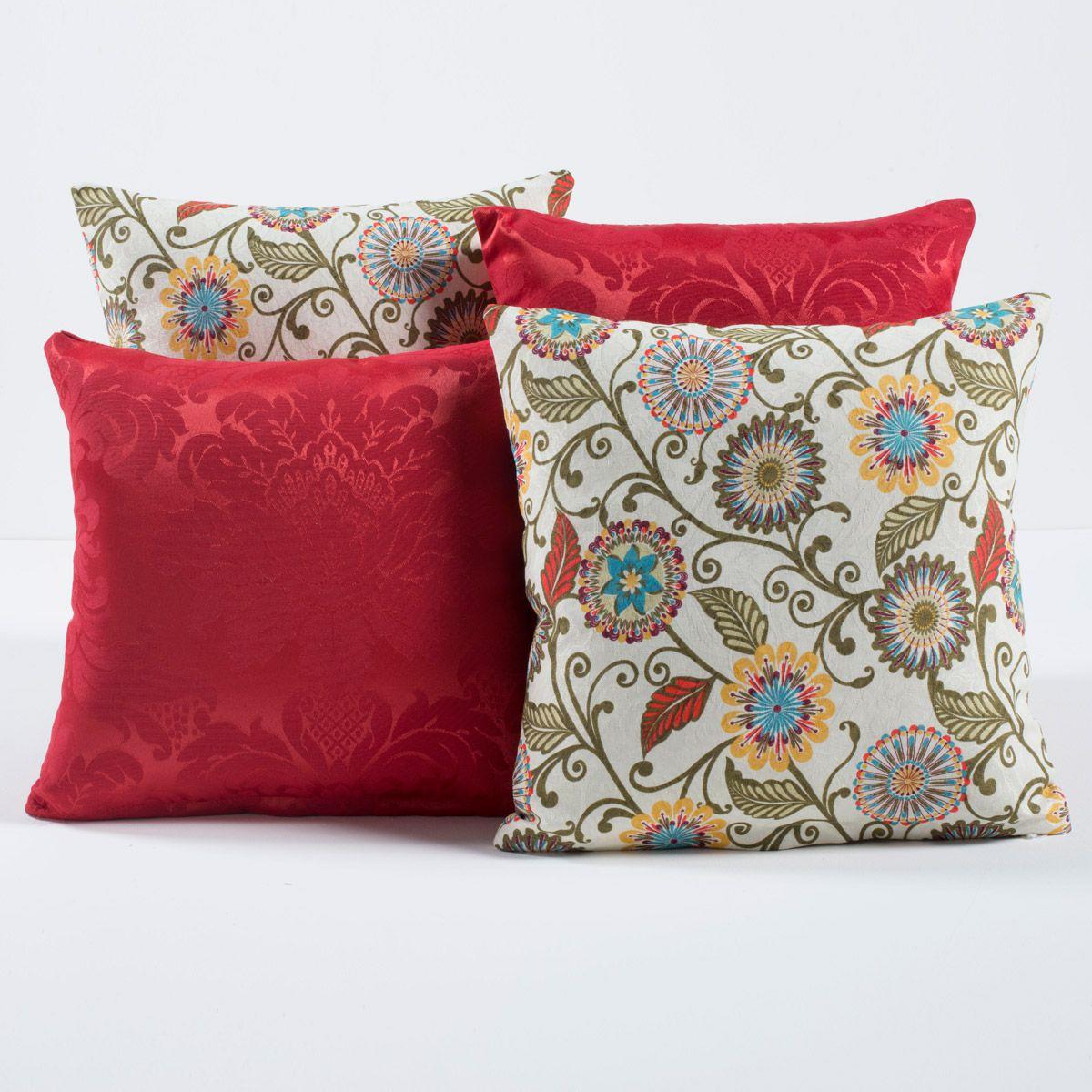 Kit Capas de Almofadas Decorativas Mandala Vermelho 04 Peças