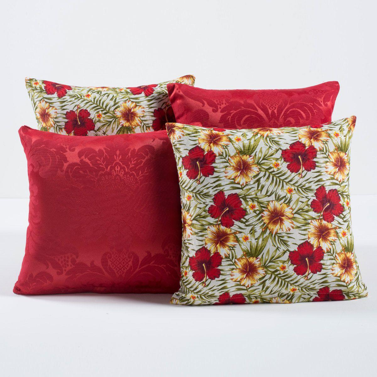 Kit Capas de Almofadas Decorativas Vermelho Floral 04 Peças