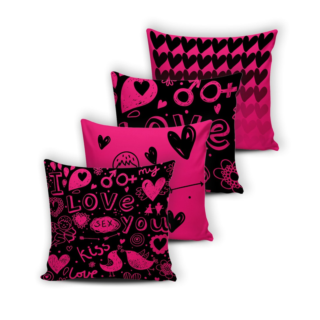 Kit Capas de Almofadas Innovative Love Pink 04 Peças