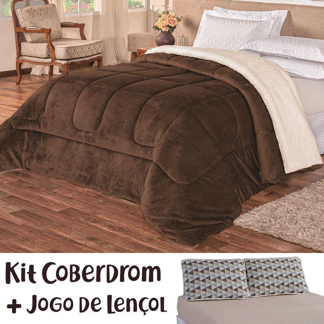 Kit Coberdrom c/ Jogo de Lençol Kronos Dupla Face Tabaco/Bege Queen 04 Peças - Tecido Sherpa e Manta Microfibra c/ Lençol em Malha