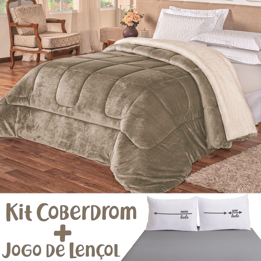 Kit Coberdrom c/ Jogo de Lençol Lado a Lado Dupla Face Caqui/Cinza Queen 04 Peças - Tecido Sherpa e Manta Microfibra c/ Lençol em Malha