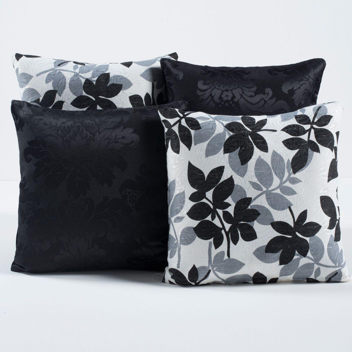 Kit Cobre Leito c/ 4 Almofadas Cheias Dual Color Preto/Branco Floral Dupla Face Casal Padrão 07 Peças