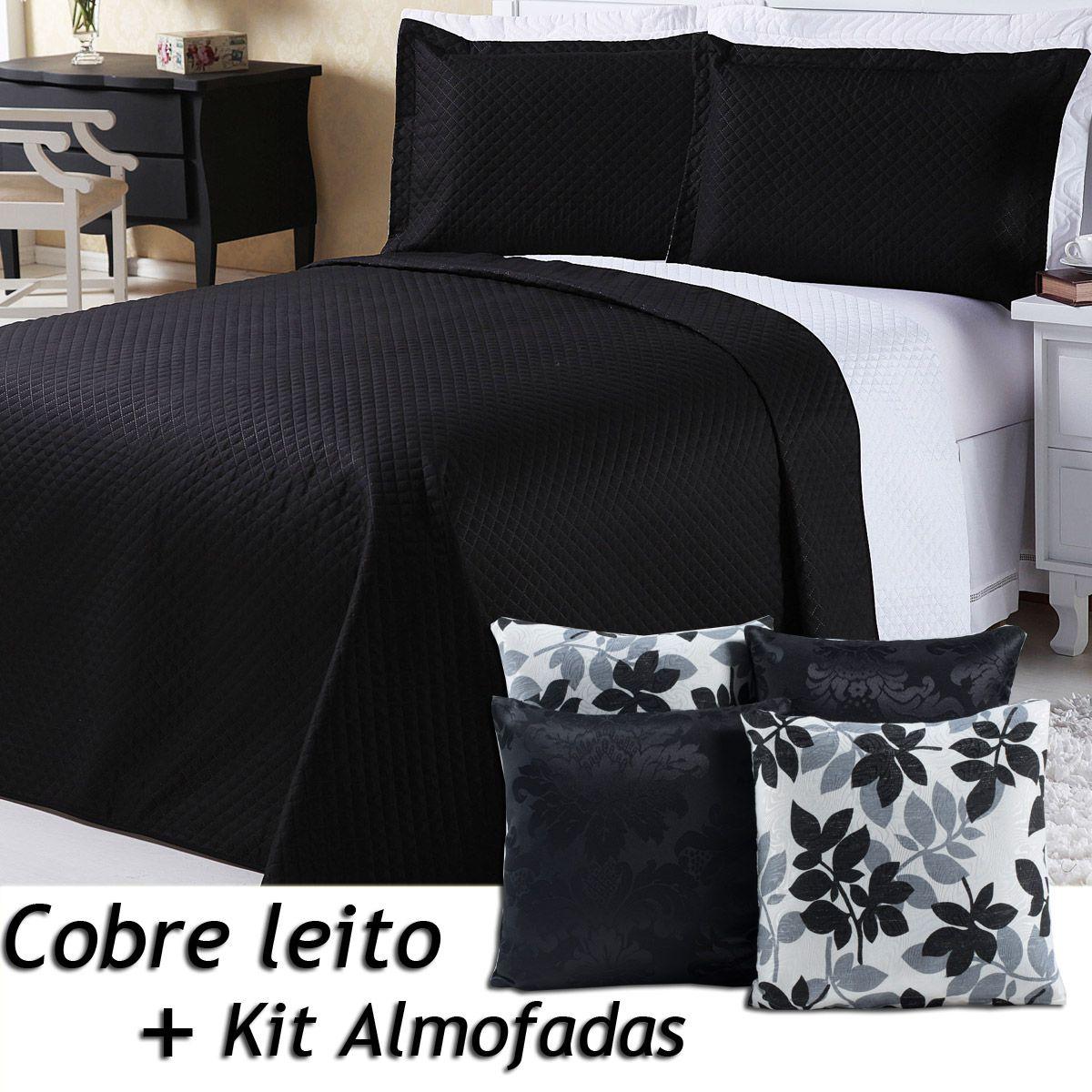 Kit Cobre Leito c/ 4 Almofadas Cheias Dual Color Preto/Branco Floral Dupla Face Queen 07 Peças