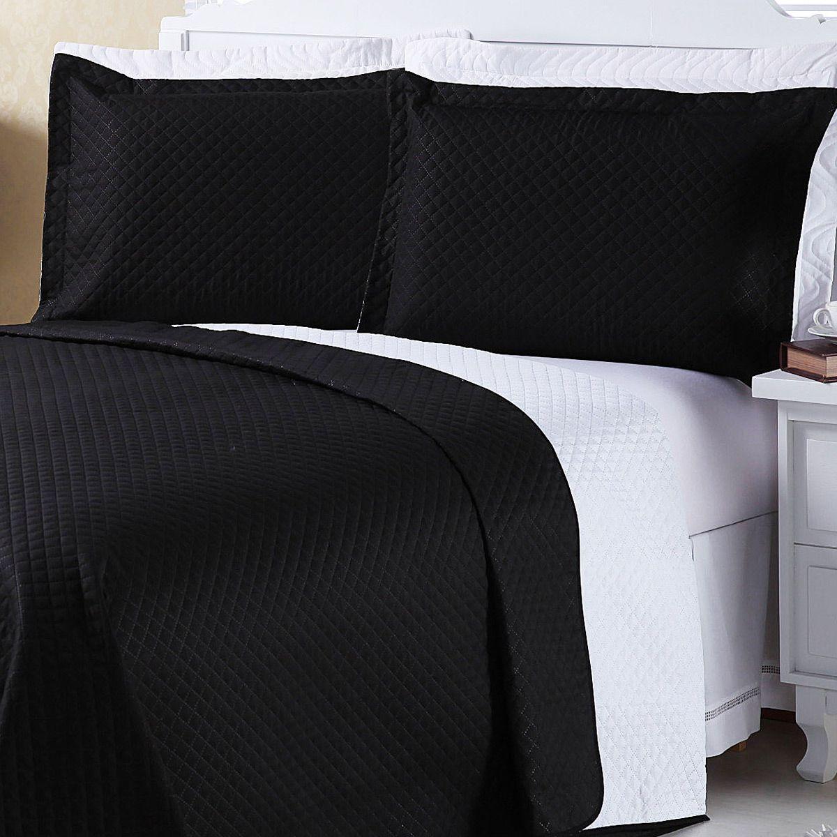 Kit Cobre Leito c/ 4 Almofadas Cheias Dual Color Preto/Branco Mandala Dupla Face Casal Padrão 07 Peças